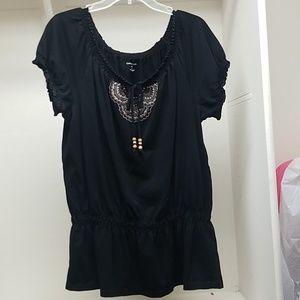 Black strechy short sleeve shirt
